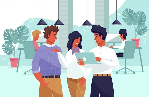 Płaskie Transparent Społeczności Młodych Ludzi W Miejscu Pracy. Premium Wektorów