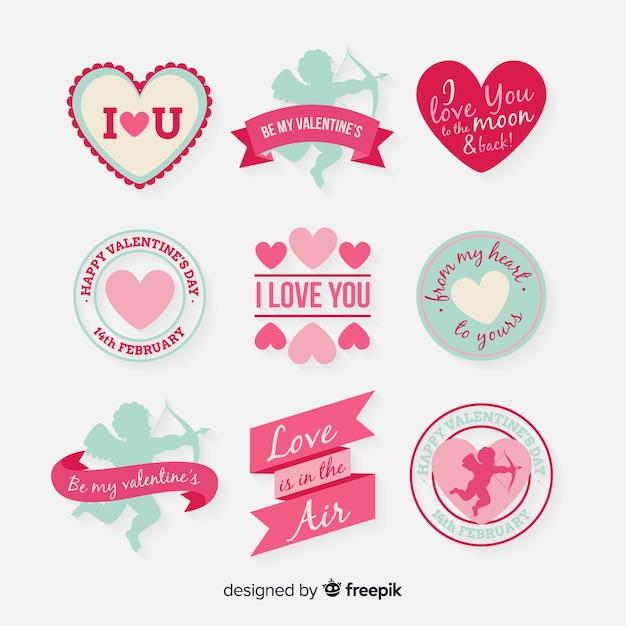 Płaskie valentine znaczek paczka Darmowych Wektorów