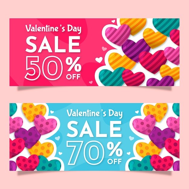 Płaskie Walentynki Sprzedaż Banery Darmowych Wektorów