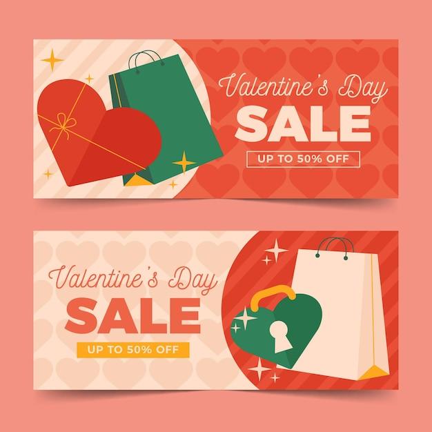 Płaskie Walentynki Sprzedaż Poziome Banery Darmowych Wektorów