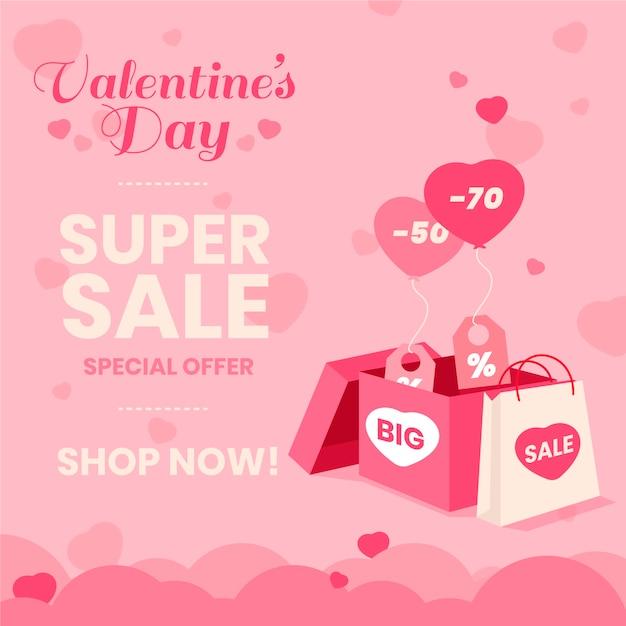 Płaskie Walentynki Sprzedaż Tło Darmowych Wektorów