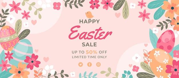 Płaskie Wielkanocne Sprzedaż Poziomy Baner Darmowych Wektorów