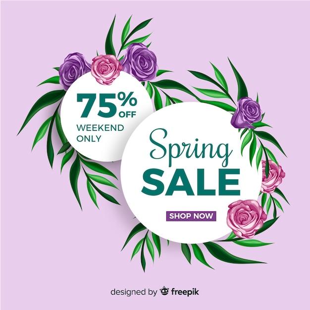 Płaskie Wiosnę Sprzedaż Tło Darmowych Wektorów