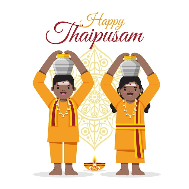 Płaskie Wydarzenie Thaipusam Z Uśmiechniętymi Ludźmi Darmowych Wektorów