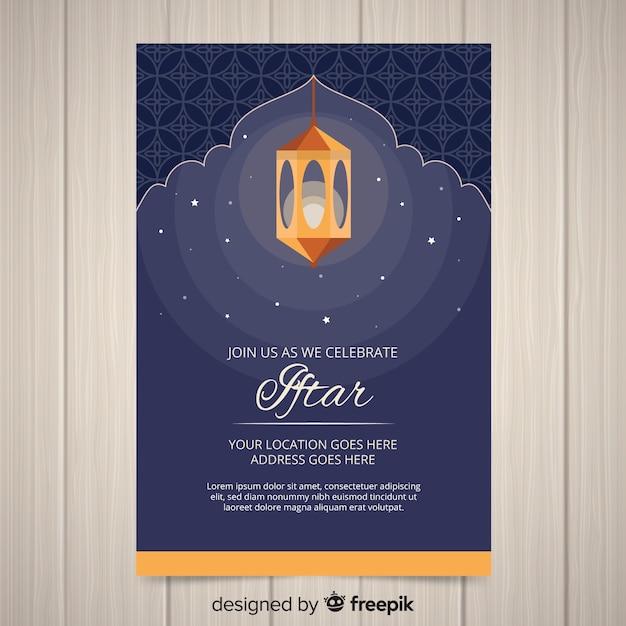 Płaskie zaproszenie iftar Darmowych Wektorów