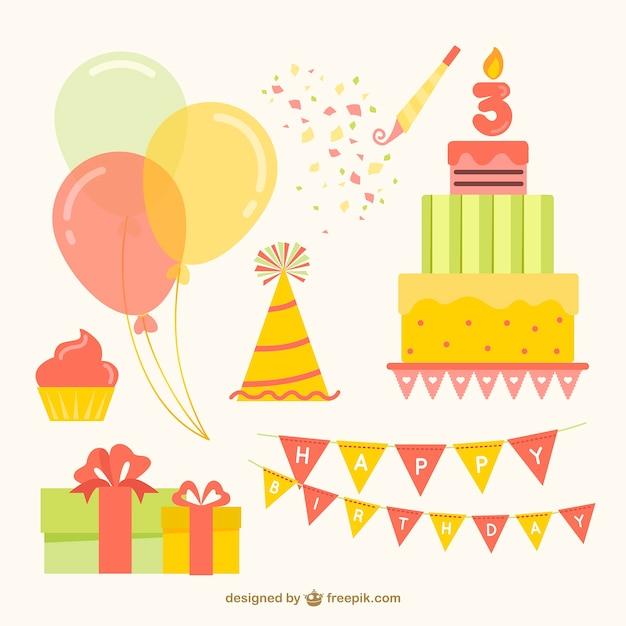Płaskie Zbiór Kolorowych Elementów Urodzinowych Darmowych Wektorów