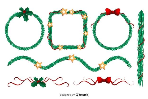 Płaskie zestaw ramek i granic świątecznych Darmowych Wektorów