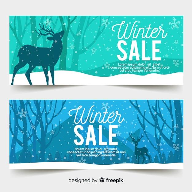 Płaskie zimowe banery sprzedaż Darmowych Wektorów