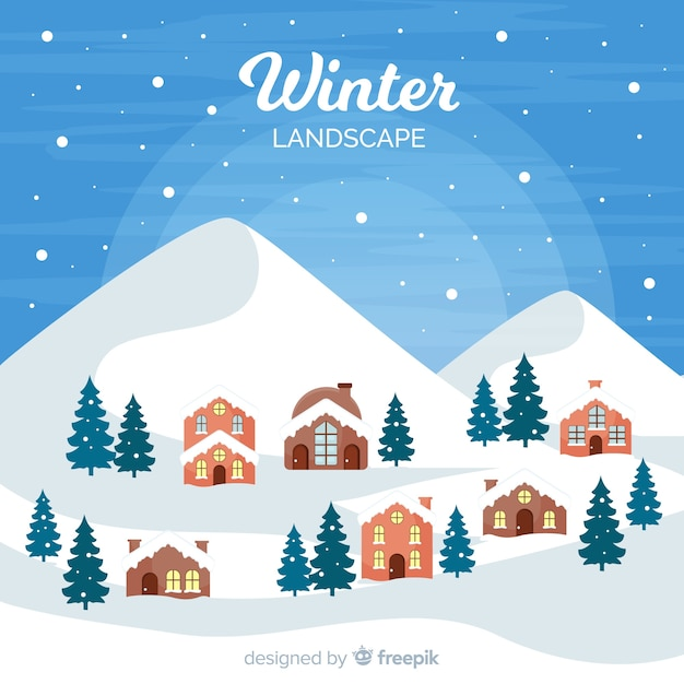Płaskie zimowe miasteczko krajobraz Darmowych Wektorów