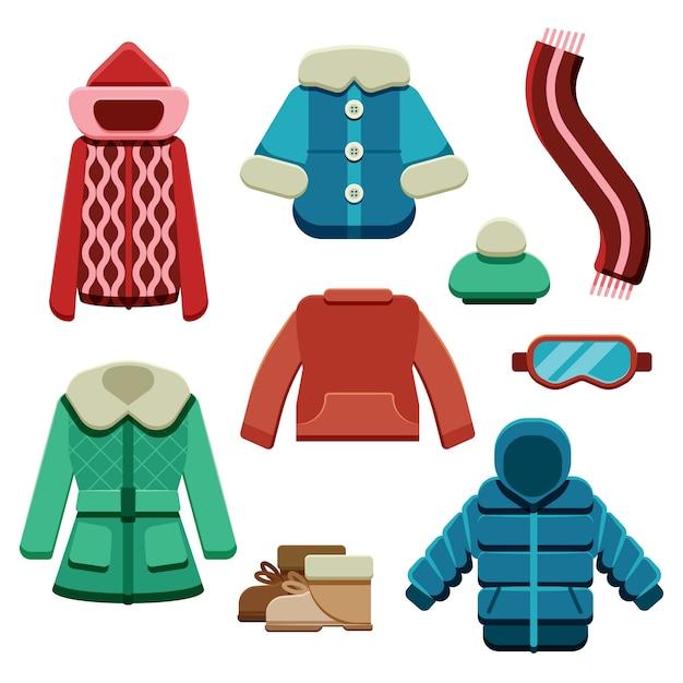 Płaskie Zimowe Ubrania I Niezbędne Artykuły Darmowych Wektorów