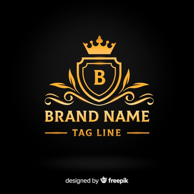 Płaskie złote eleganckie logo szablon Darmowych Wektorów