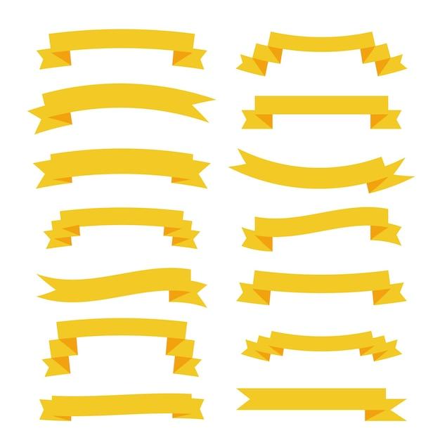 Płaskie żółte Wstążki Duży Zestaw Banerów Darmowych Wektorów