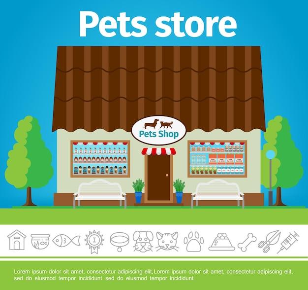 Płaskie Zwierzęta Domowe Kupują Kolorowy Szablon Z Fasadą Budynku Sklepu I Liniowymi Ikonami Zwierząt Domowych Darmowych Wektorów