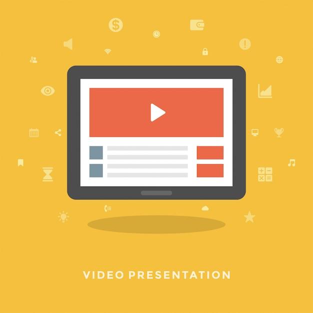 Płaskiego Projekta Wektorowy Biznesowy Ilustracyjny Pojęcie Wideo Marketing Premium Wektorów