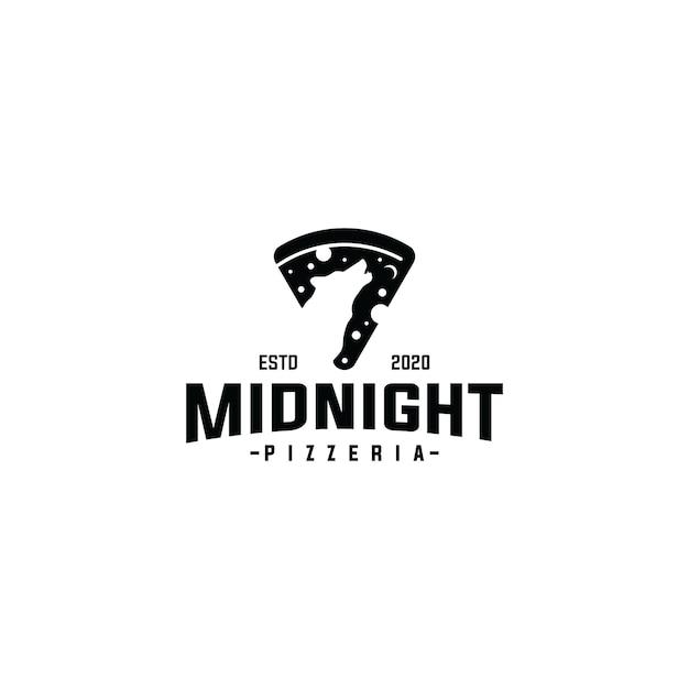 Plasterek logo pizzy z szablon wektor wilk północy Premium Wektorów