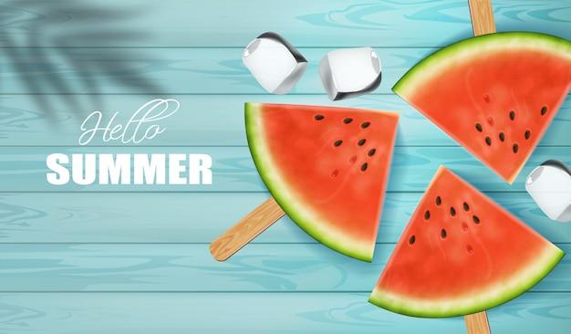 Plasterki arbuza z tłem witam lato Premium Wektorów