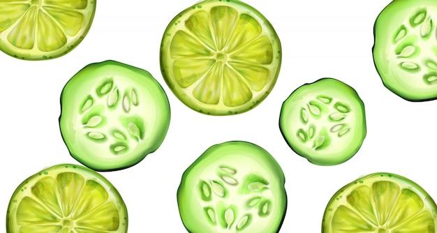 Plasterki Zielonego Ogórka I Limonki Na Baner Premium Wektorów