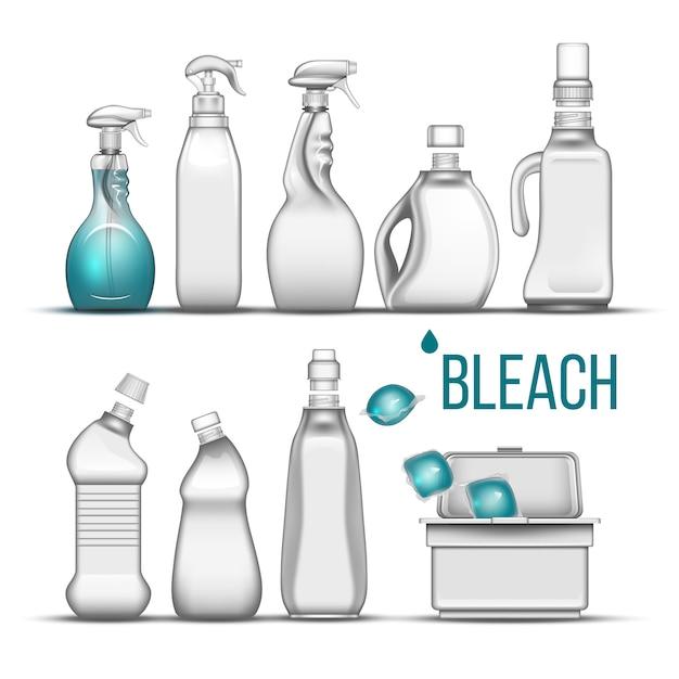 Plastikowa Butelka Na Detergent Wybielający Premium Wektorów