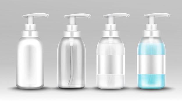 Plastikowa Butelka Z Pompką Dozującą Do Mydła W Płynie Darmowych Wektorów