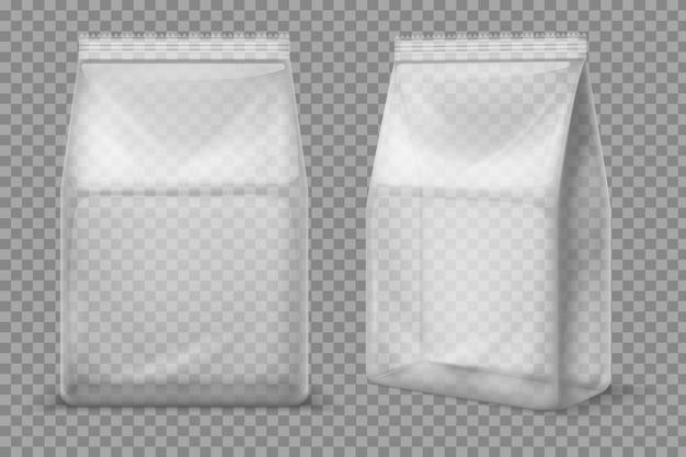 Plastikowa Torba Na Przekąski. Przezroczysta Pusta Saszetka Na żywność. 3d Wektor Pakiet Na Białym Tle Premium Wektorów
