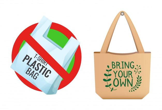 Plastikowa Torba Zabroniona, Ikona Przekreślonej Torby, Brak Plastikowej I Brązowej Lnianej Torby Ekologicznej Ze Znakiem Zabierz Swoją Własną, Dbaj O środowisko Premium Wektorów