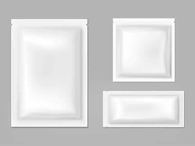 Plastikowe, foliowe saszetki z wektorem łez Darmowych Wektorów