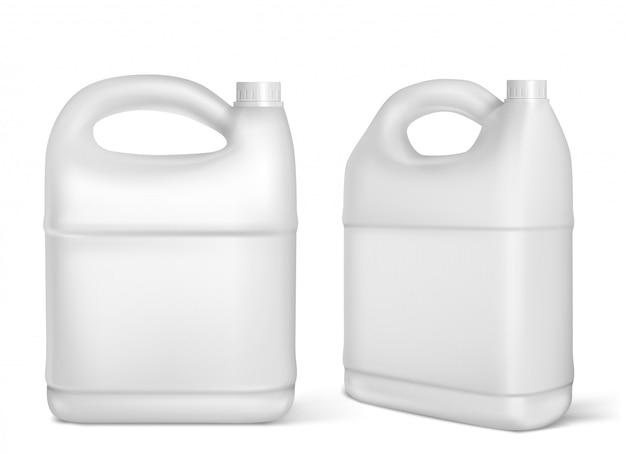 Plastikowe Kanistry, Białe Kanistry Na Białym Tle Butelki Darmowych Wektorów