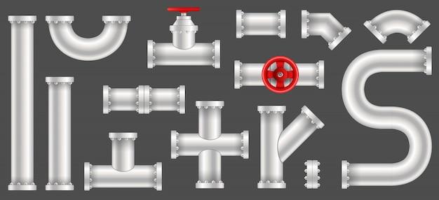 Plastikowe rurociągi wodne, naftowe i gazowe Premium Wektorów