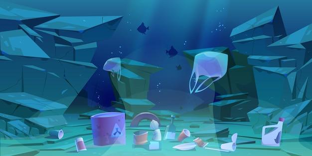 Plastikowe śmieci Na Dnie Oceanu. Dno Morskie Z Różnymi Rodzajami śmieci. Darmowych Wektorów