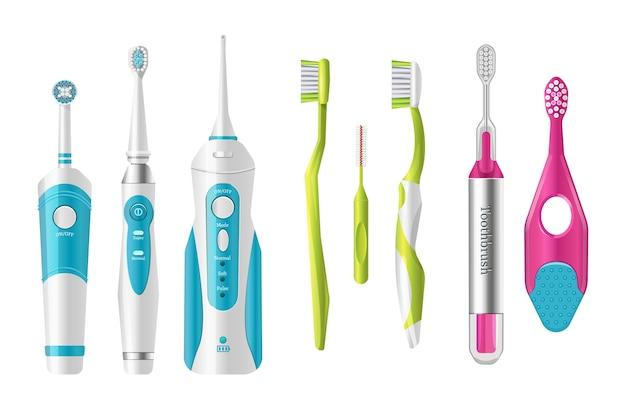 Plastikowe Szczoteczki Do Zębów, Różne Kształty Do Szczotkowania Zębów. Premium Wektorów