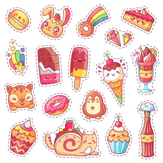 Plastry Słodkiego Truskawkowego Różowego Kawaii Premium Wektorów