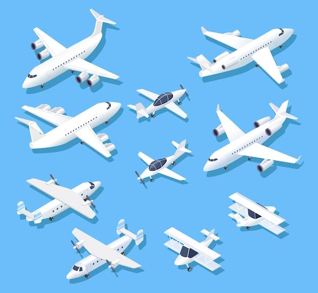 Płaszczyzny Izometryczne. Prywatne Samoloty Odrzutowe, Samoloty I Samoloty. Zestaw Antenowy 3d Premium Wektorów