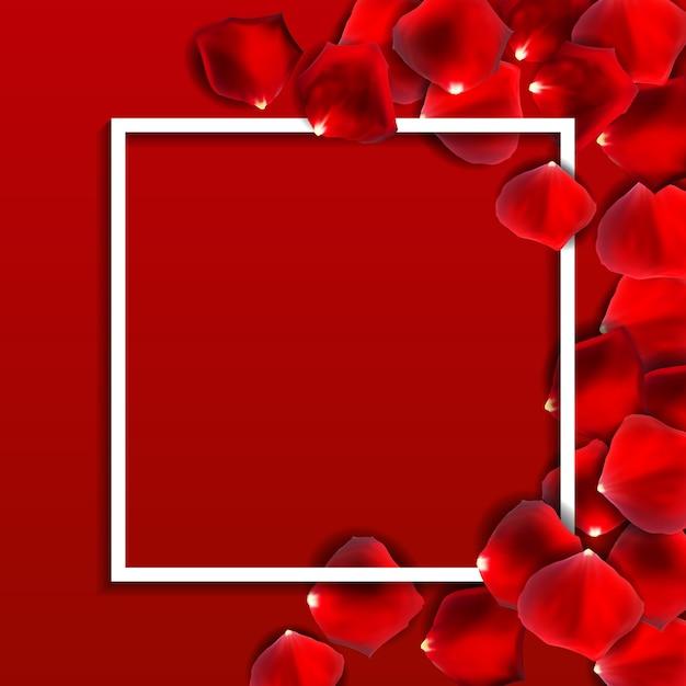 Płatek Czerwonej Róży Kwiat, Romantyczny Ramowy Tło Premium Wektorów
