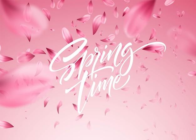 Płatek Wiśni Tło Z Napisem Czas Wiosny. Ilustracja Premium Wektorów