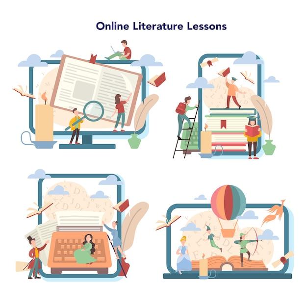Platforma Edukacyjna Online Z Literatury. Webinar, Kurs I Lekcja Online. Idea Edukacji I Wiedzy. Studiuj Starożytnego Pisarza I Współczesną Powieść. Premium Wektorów