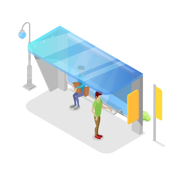 Platforma Transportu Miejskiego Izometryczny 3d Premium Wektorów