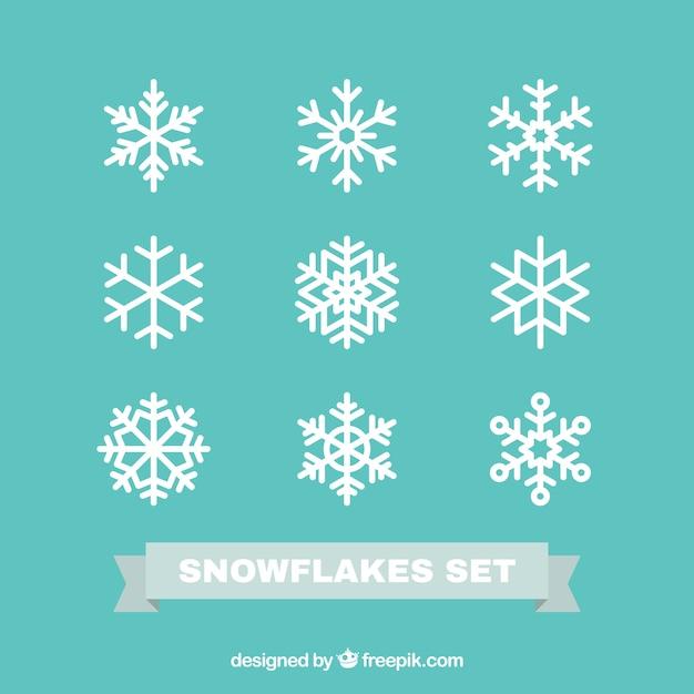 Płatki śniegu Ustawione W Płaskiej Konstrukcji Premium Wektorów