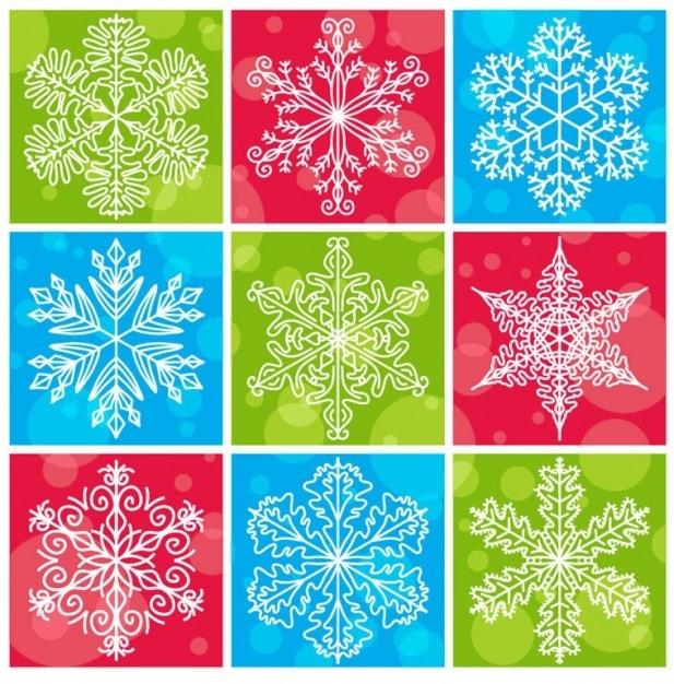 Płatki z kolorowym tłem kolekcji vector christmas Darmowych Wektorów