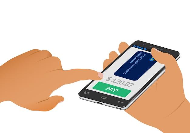 Płatność Bezprzewodowa. Ekran Płatności I Karta Kredytowa Na Smartfonie W Ludzkiej Dłoni. Premium Wektorów