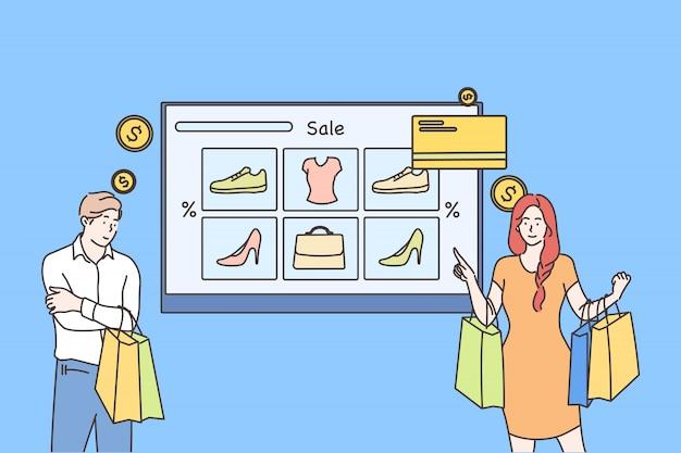 Płatność Online, Technologia, Zakupy, Koncepcja Sprzedaży Premium Wektorów