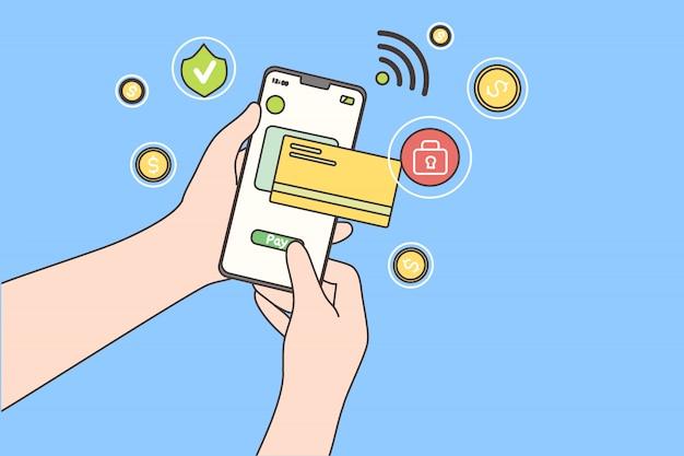 Płatność Online, Technologia, Zakupy, Koncepcja Telefonu Komórkowego Premium Wektorów