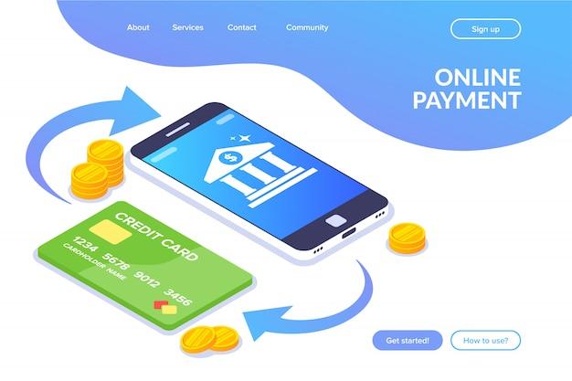 Płatność Online. Transakcja Pieniężna Między Telefonem A Kartą. Ikona Banku Na Ekranie Smartfona Premium Wektorów
