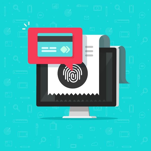 Płatność Online Za Pomocą Karty Kredytowej Na Komputerze Lub Bezprzewodowa Technologia Płatności Za Pomocą Odcisku Palca Premium Wektorów
