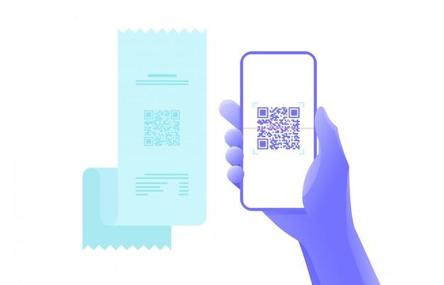 Płatność przez skan kodu qr za pomocą smartfona. projekt graficzny. Premium Wektorów