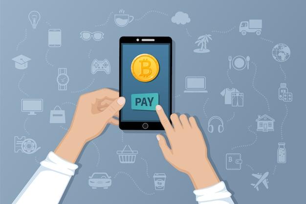 Płatność W Bitcoinach. Obsługa Płatności Przelewów Międzynarodowych Za Pomocą Elektronicznej Wirtualnej Waluty. Premium Wektorów
