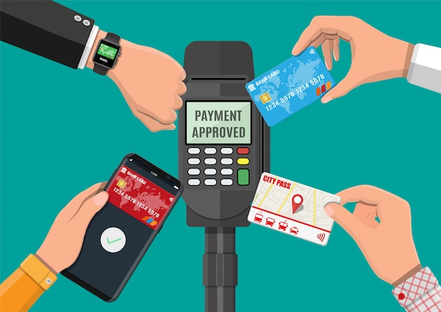 Płatności Bezprzewodowe, Zbliżeniowe Lub Bezgotówkowe Premium Wektorów