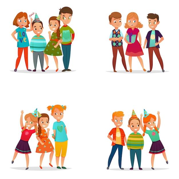 Playing Kids 4 Cartoon Darmowych Wektorów