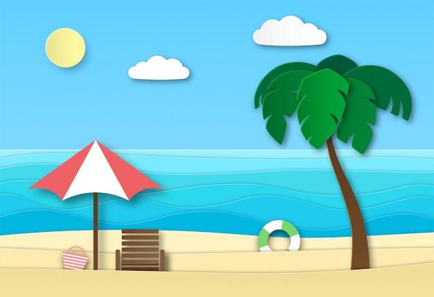 Plaża Morska Origami. Letnie Wakacje Abstrakcyjny Krajobraz Z Piaskiem, Falami Oceanu I Słońcem. Summertime Relax 3d Paper Art Premium Wektorów