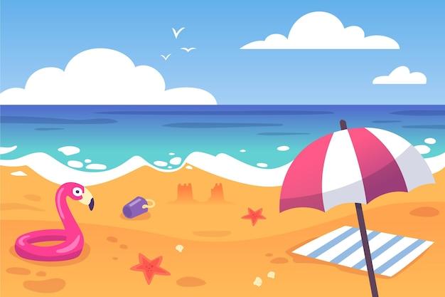 Plażowego Parasola I Floatie Lata Tło Darmowych Wektorów