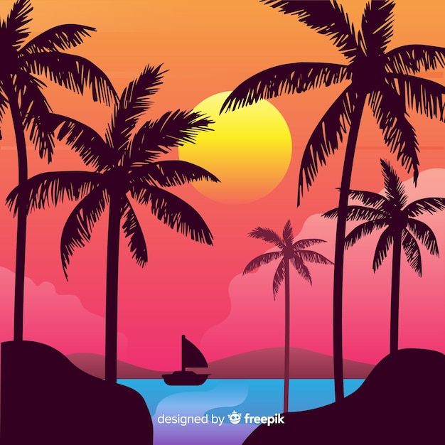 Plażowy zmierzch z palmowym sylwetki tłem Darmowych Wektorów